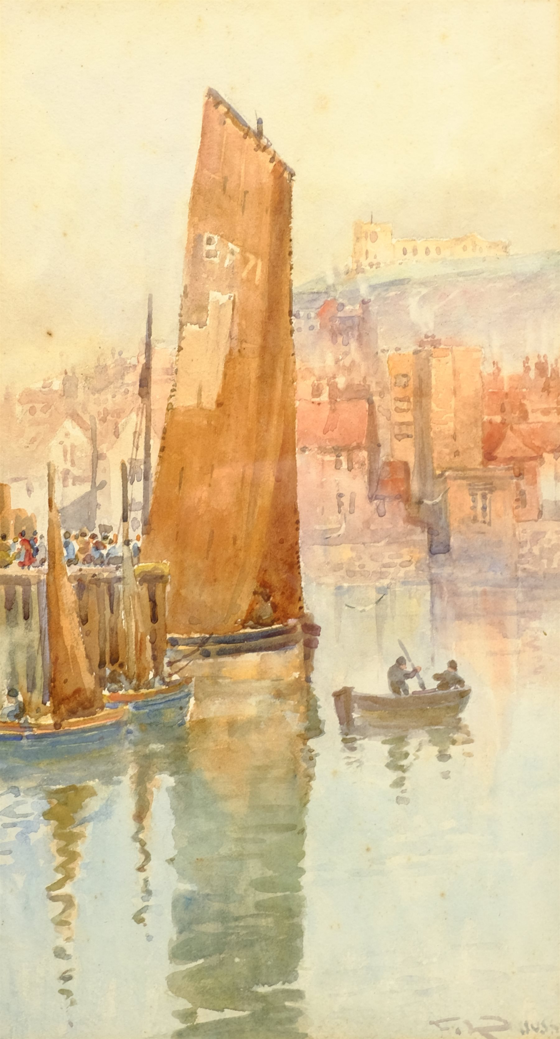 Frank Rousse (British fl.1897-1917): Whitby, watercolour signed 37cm x 20cm - Image 2 of 4