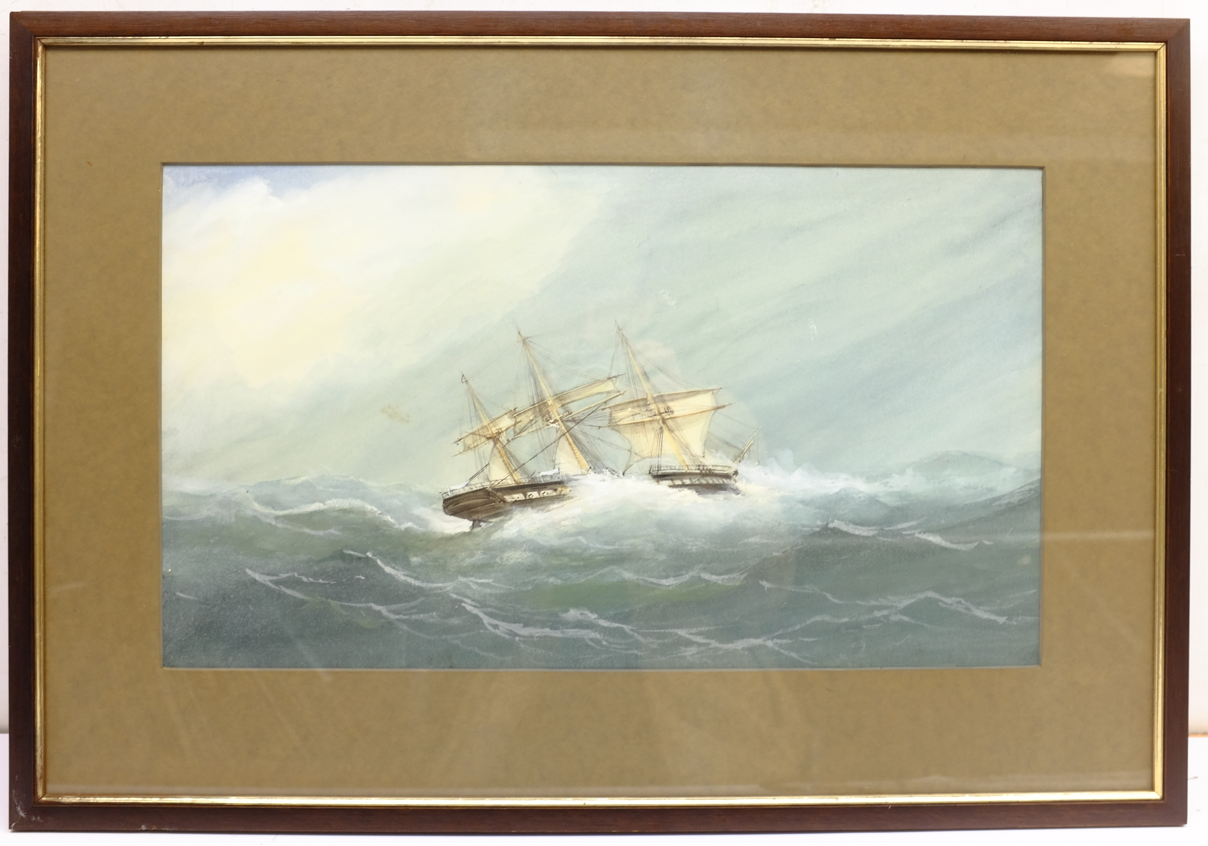 English School (Early 20th century): Ships in Rough Seas, pair watercolours unsigned 31cm x 53cm (2) - Image 10 of 10
