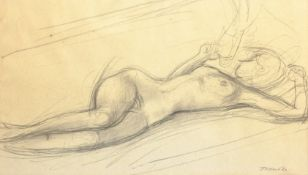 Continental School (20th century): Reclining Nude, pencil sketch indistinctly signed and dated '62,