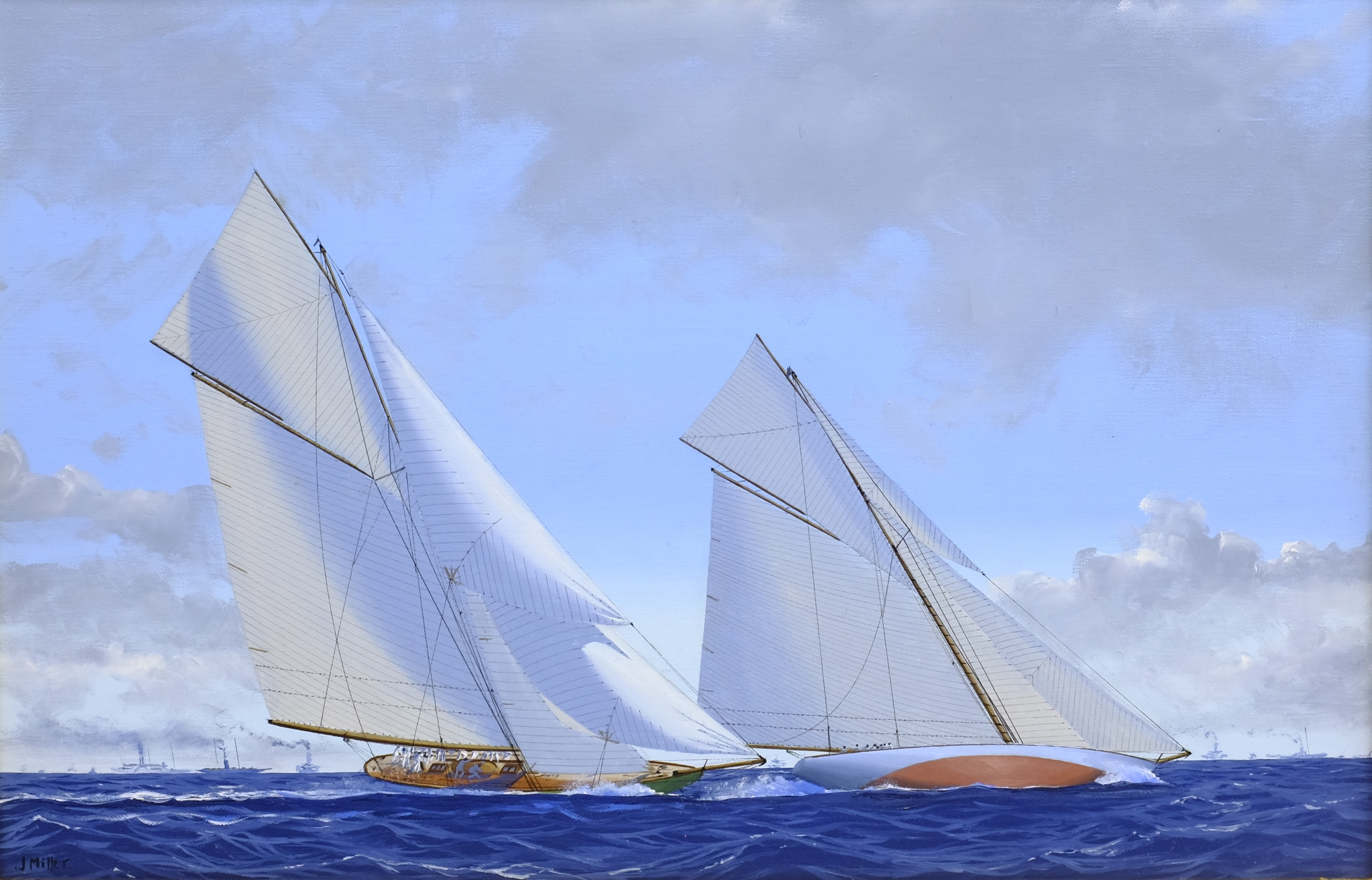 James Miller (British 1962-): 'Shamrock II' & 'Columbia' in the America's Cup Series 11th challenge
