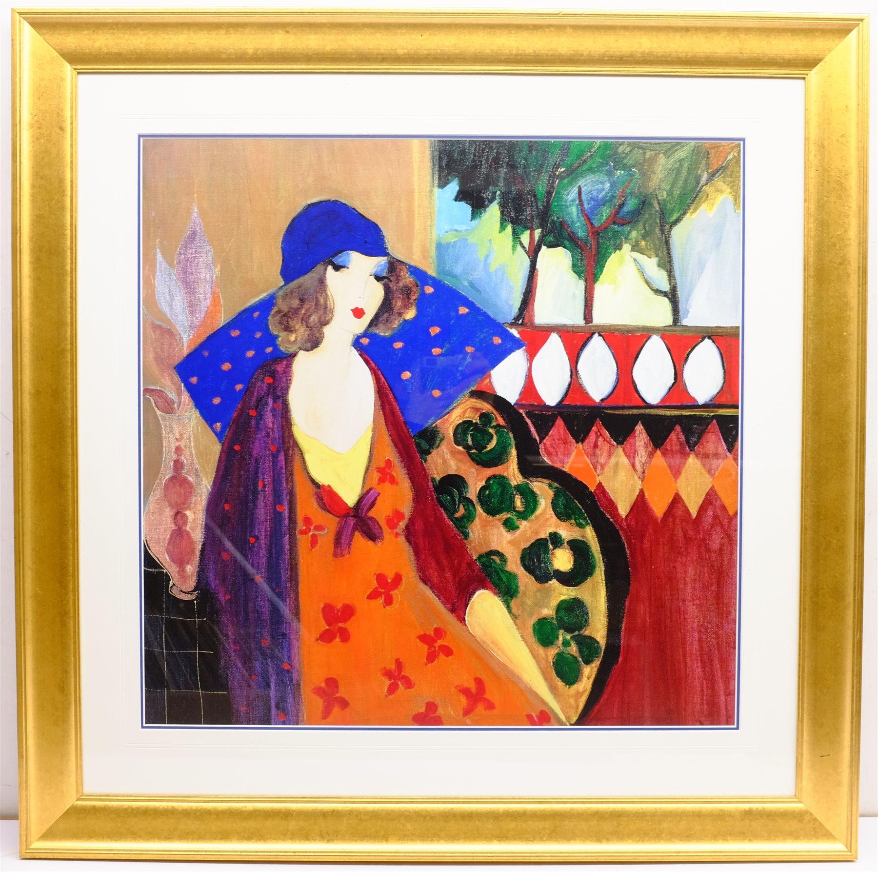 After Itzchak Tarkay (Israeli 1935-2012): 'Indigo Chapeau', colour print 63cm x 64cm - Image 3 of 4