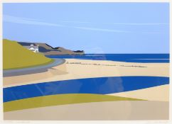 Ian Mitchell (British Contemporary): 'Sandsend', limited edition digital lithograph signed, titled a