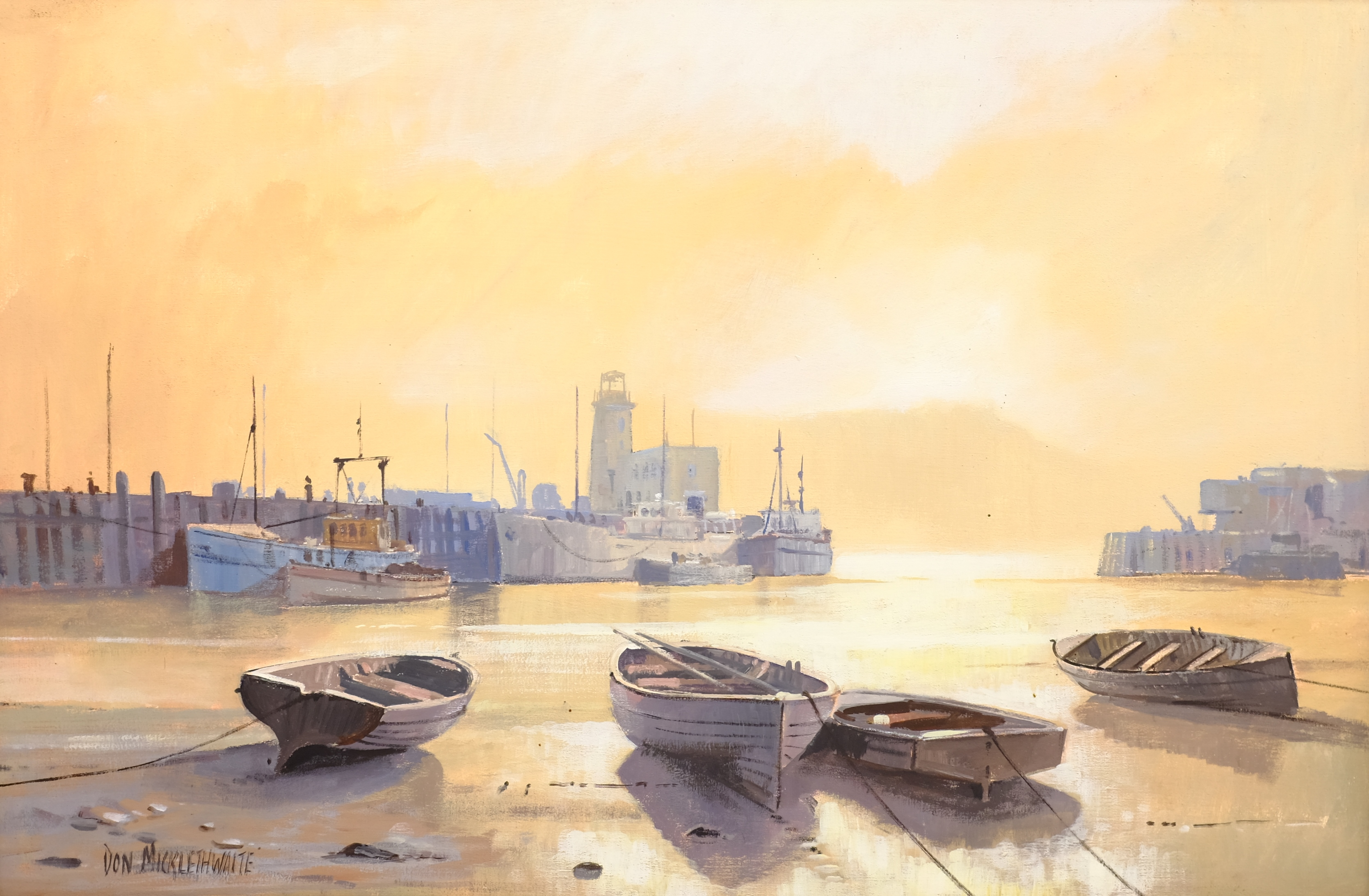 Don Micklethwaite (British 1936-): 'Summer Sun Scarborough', acrylic on board signed, titled and dat