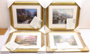 After Thomas Kinkade (American 1958-2012): Cottage and River scenes, set of six colour prints 28cm x