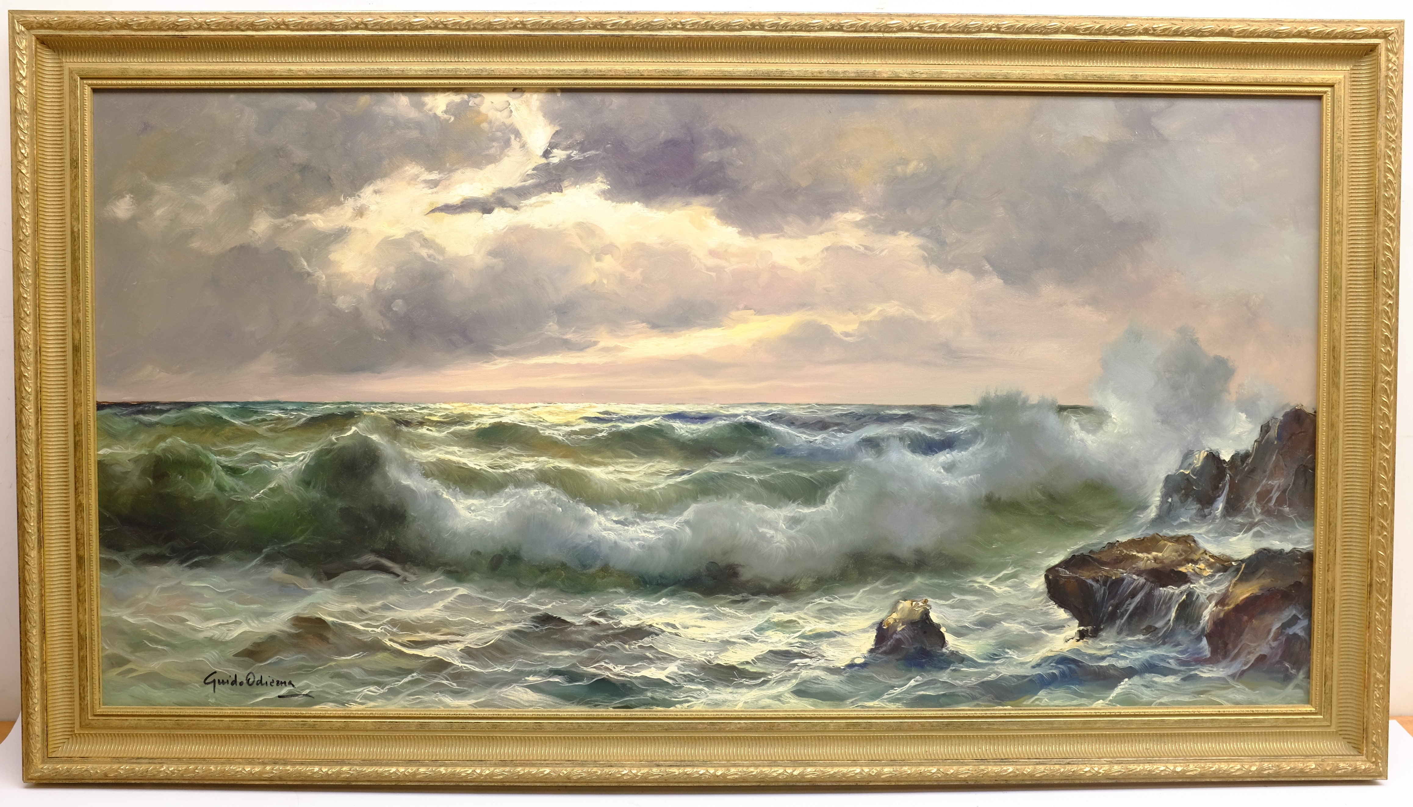 Guido Odierna (Italian 1913-1991): Waves Breaking on the Shore at Twilight, oil on canvas signed 59c - Image 4 of 4