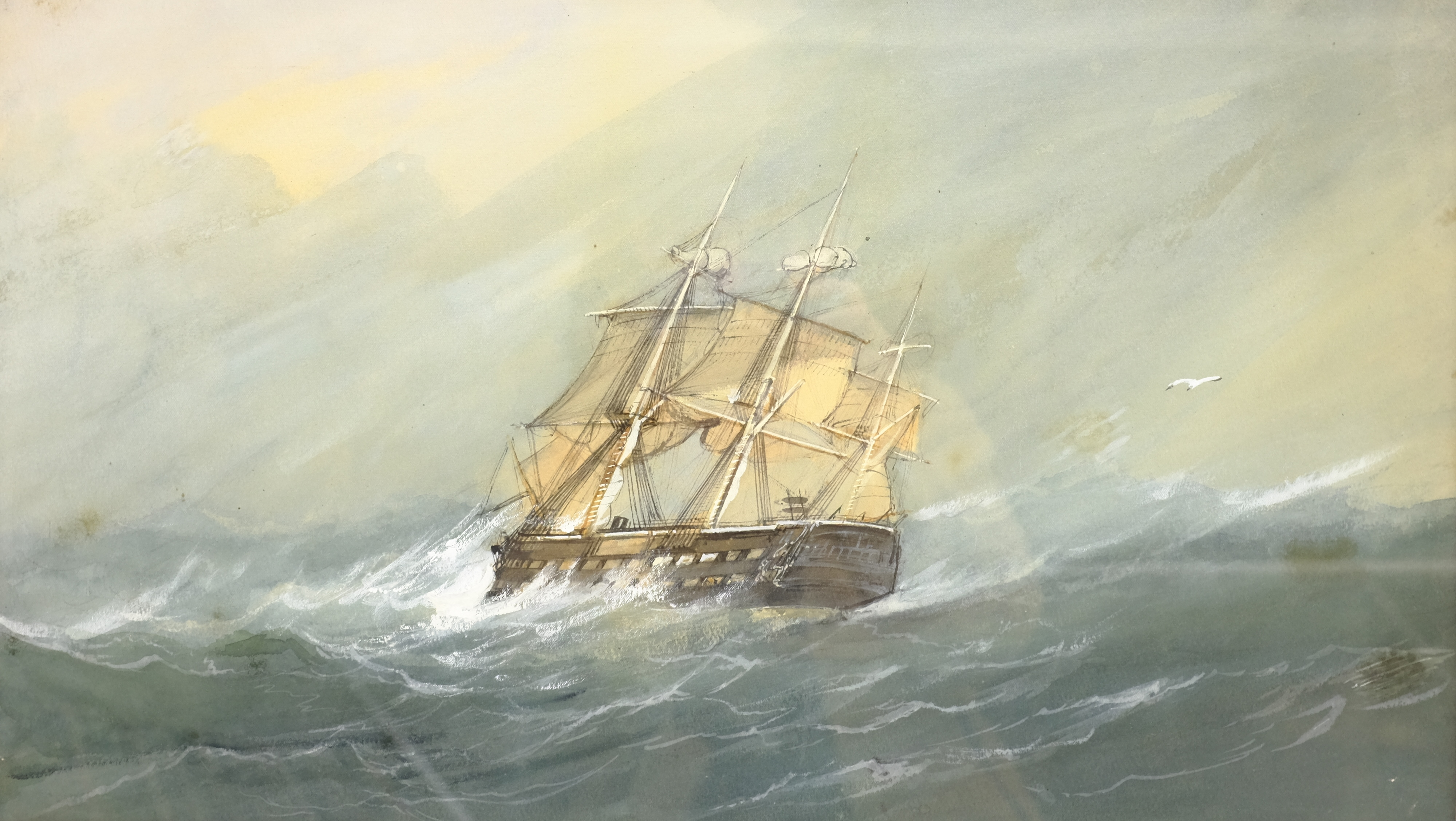 English School (Early 20th century): Ships in Rough Seas, pair watercolours unsigned 31cm x 53cm (2) - Image 7 of 10