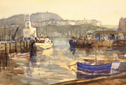 English School (Mid 20th century): Scarborough Harbour, watercolour indistinctly signed 36cm x 52cm