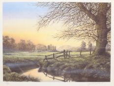 David Smithurst (British 1942-2001): Pastoral Landscape, limited edition colour print signed and num