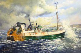 S Trueman (British 20th/21st century): Scarborough trawler 'The Maggie M' SH170, oil on board signed