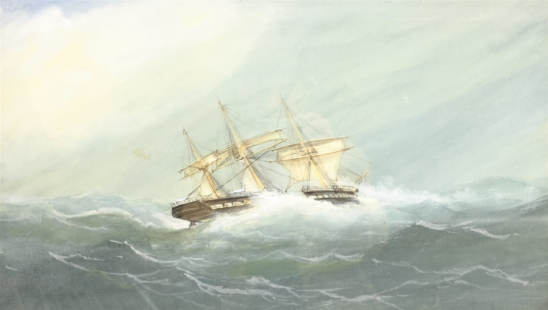 English School (Early 20th century): Ships in Rough Seas, pair watercolours unsigned 31cm x 53cm (2) - Image 5 of 10