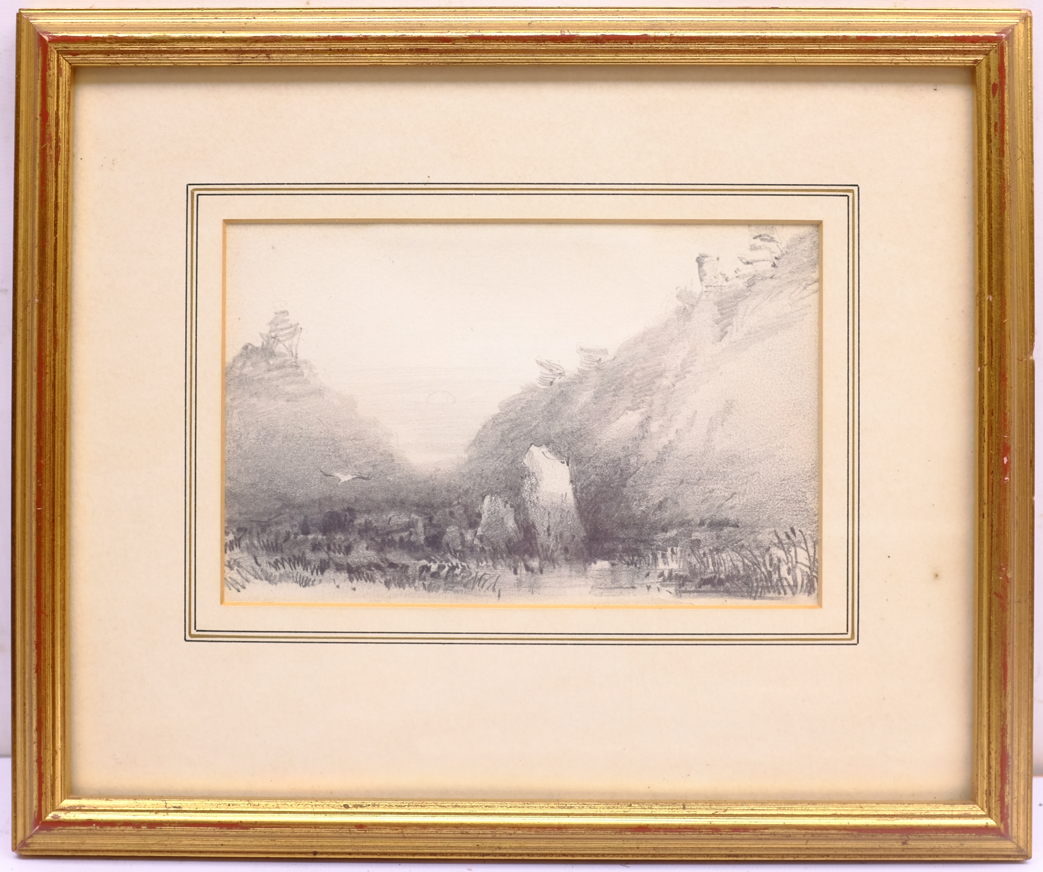 Henry Barlow Carter (British 1804-1868): 'Valley of the Rocks Lynton Twilight', pencil unsigned, tit - Image 4 of 4