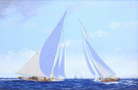 James Miller (British 1962-): 'Rainbow' & 'Endeavour' in the America's Cup Series 15th challenge 193