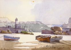 Don Micklethwaite (British 1936-): 'Scarborough Harbour', watercolour signed, titled and dated 1987