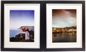 Sue McDonald 'Beside the Wave Gallery', poster print 69cm x 49cm; Scarborough Harbour & Robin Hood's
