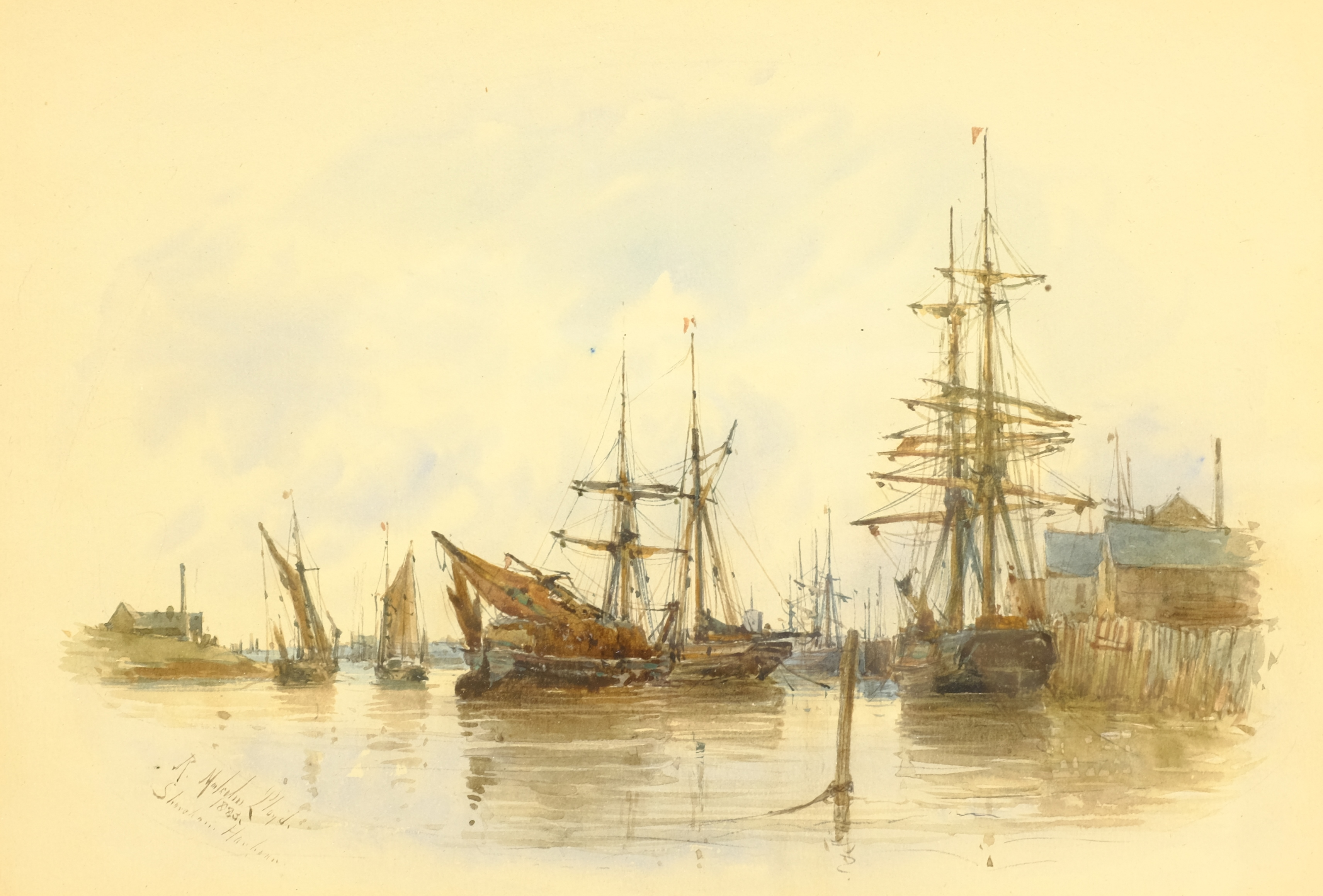 Robert Malcolm Lloyd (British 1859-1907): 'Shoreham Harbour', watercolour signed, titled and dated 1