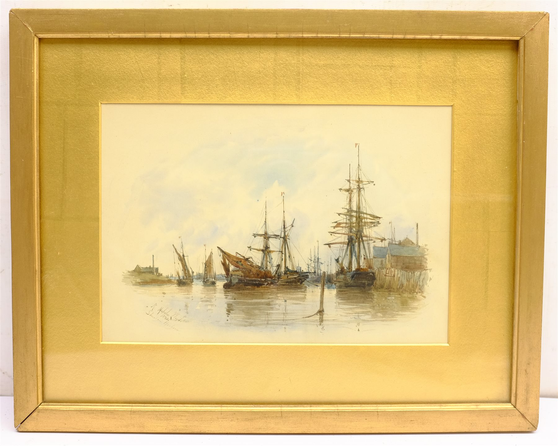 Robert Malcolm Lloyd (British 1859-1907): 'Shoreham Harbour', watercolour signed, titled and dated 1 - Image 3 of 4