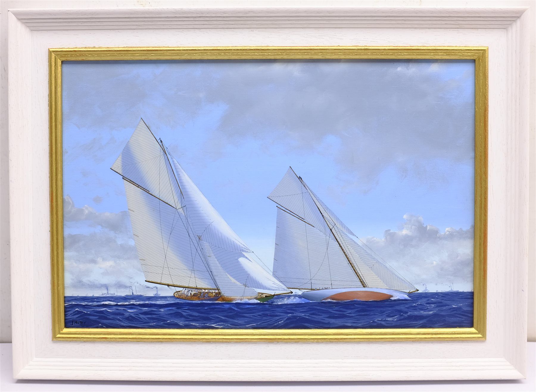 James Miller (British 1962-): 'Shamrock II' & 'Columbia' in the America's Cup Series 11th challenge - Image 3 of 4