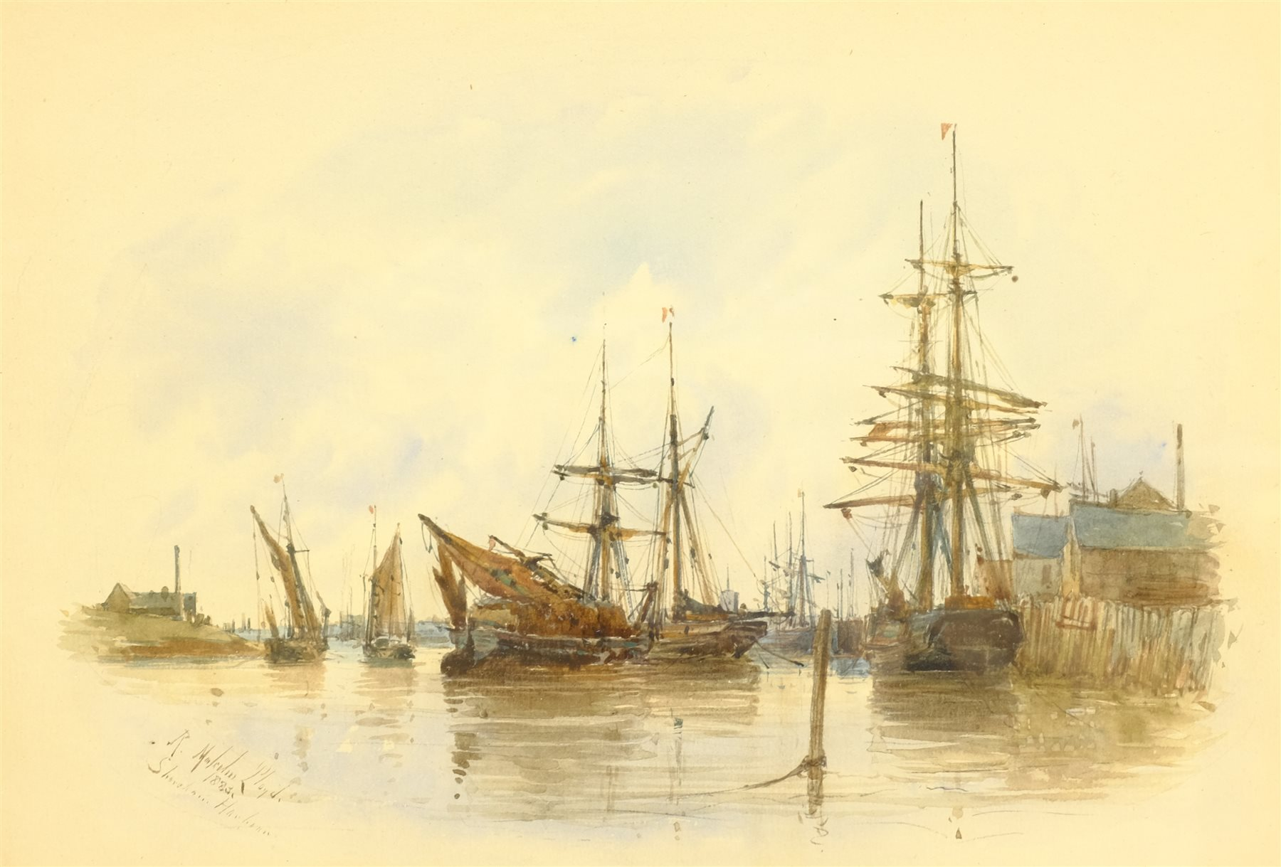 Robert Malcolm Lloyd (British 1859-1907): 'Shoreham Harbour', watercolour signed, titled and dated 1 - Image 2 of 4