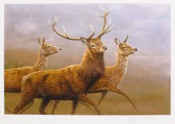 Robert Fuller (British 1972-): Running Deer, limited edition colour print signed and numbered 37/850
