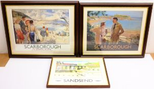 'Scarborough' and 'Sandsend', three reproduction British Railways posters, max 42cm x 55cm (3)