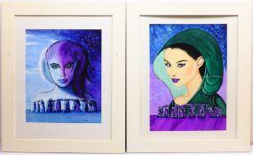 Lisa Chew (British Contemporary): 'Moon Child of Stonehenge' and 'Priestess of Stonehenge', pair gou