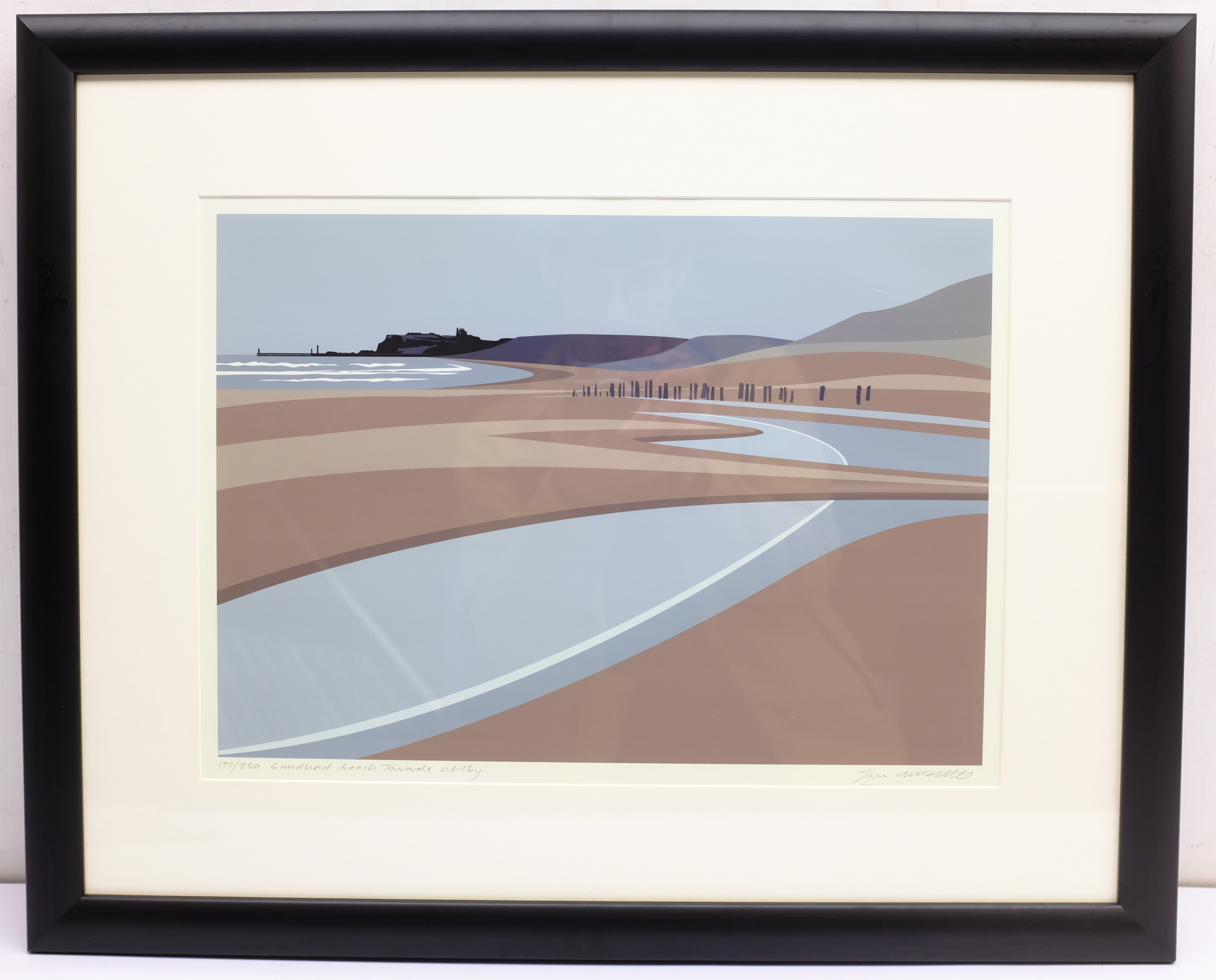 Ian Mitchell (British Contemporary): 'Sandsend Beach Towards Whitby', limited edition digital lithog - Image 4 of 4