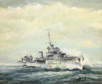 Geoff Shaw (British 1924-1992): 'H.M.S. Windsor' - Ship's Portrait, oil on board signed 49cm x 59cm