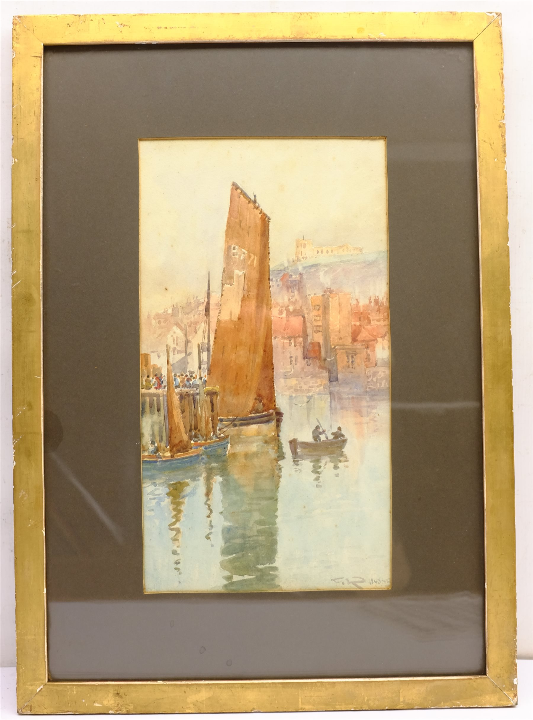 Frank Rousse (British fl.1897-1917): Whitby, watercolour signed 37cm x 20cm - Image 3 of 4