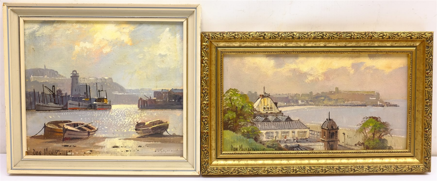 Don Micklethwaite (British 1936-): 'Scarborough Spa and Harbour, two acrylics on board signed 12cm x - Image 2 of 2