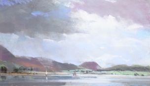 Christopher John Assheton-Stones (British 1947-1999): Sailing on the Lake, pastel unsigned 38cm x 64