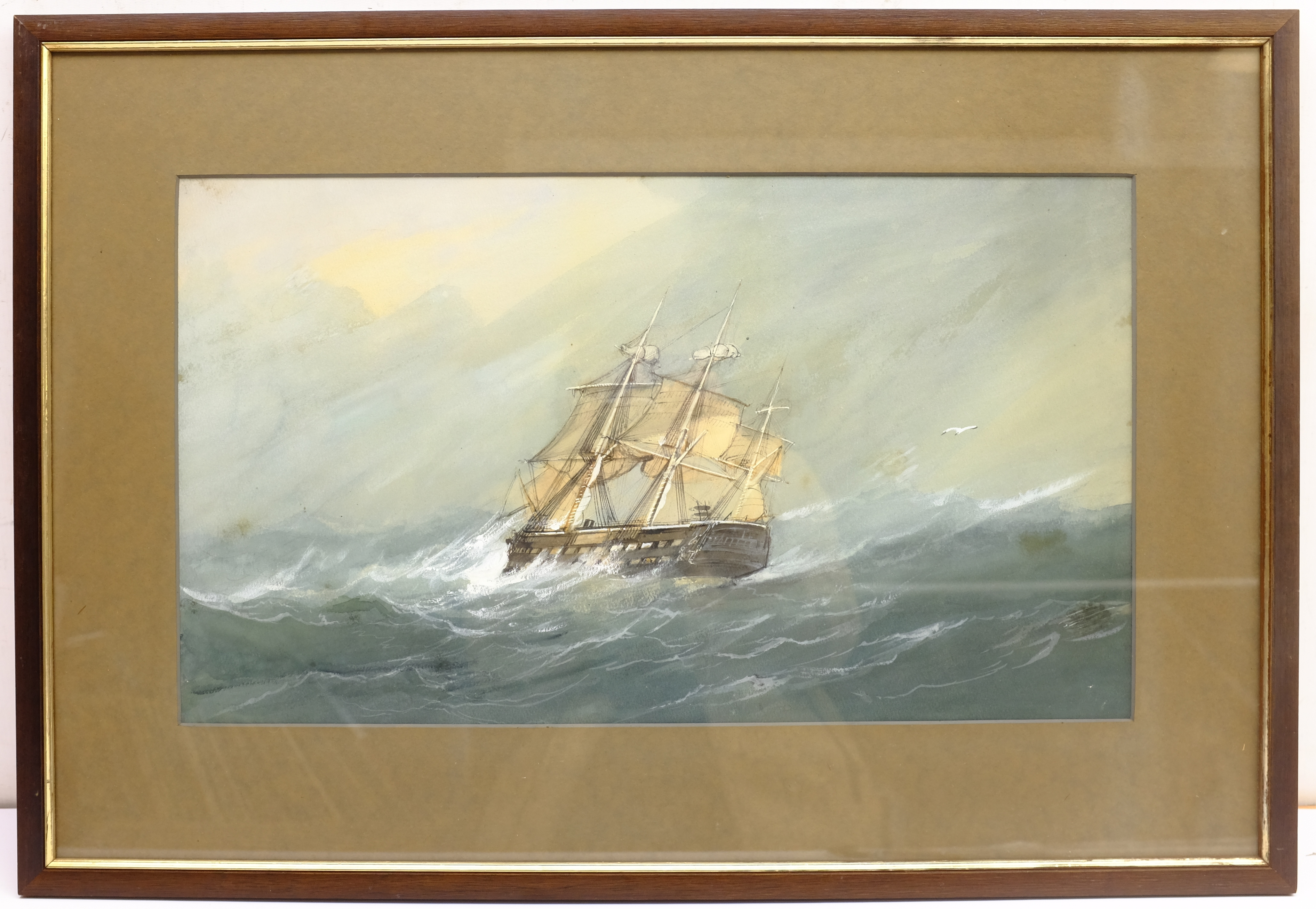 English School (Early 20th century): Ships in Rough Seas, pair watercolours unsigned 31cm x 53cm (2) - Image 8 of 10