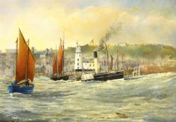 Robert Sheader (British 20th century): Steam Paddle and Fishing Boats outside Scarborough Harbour,
