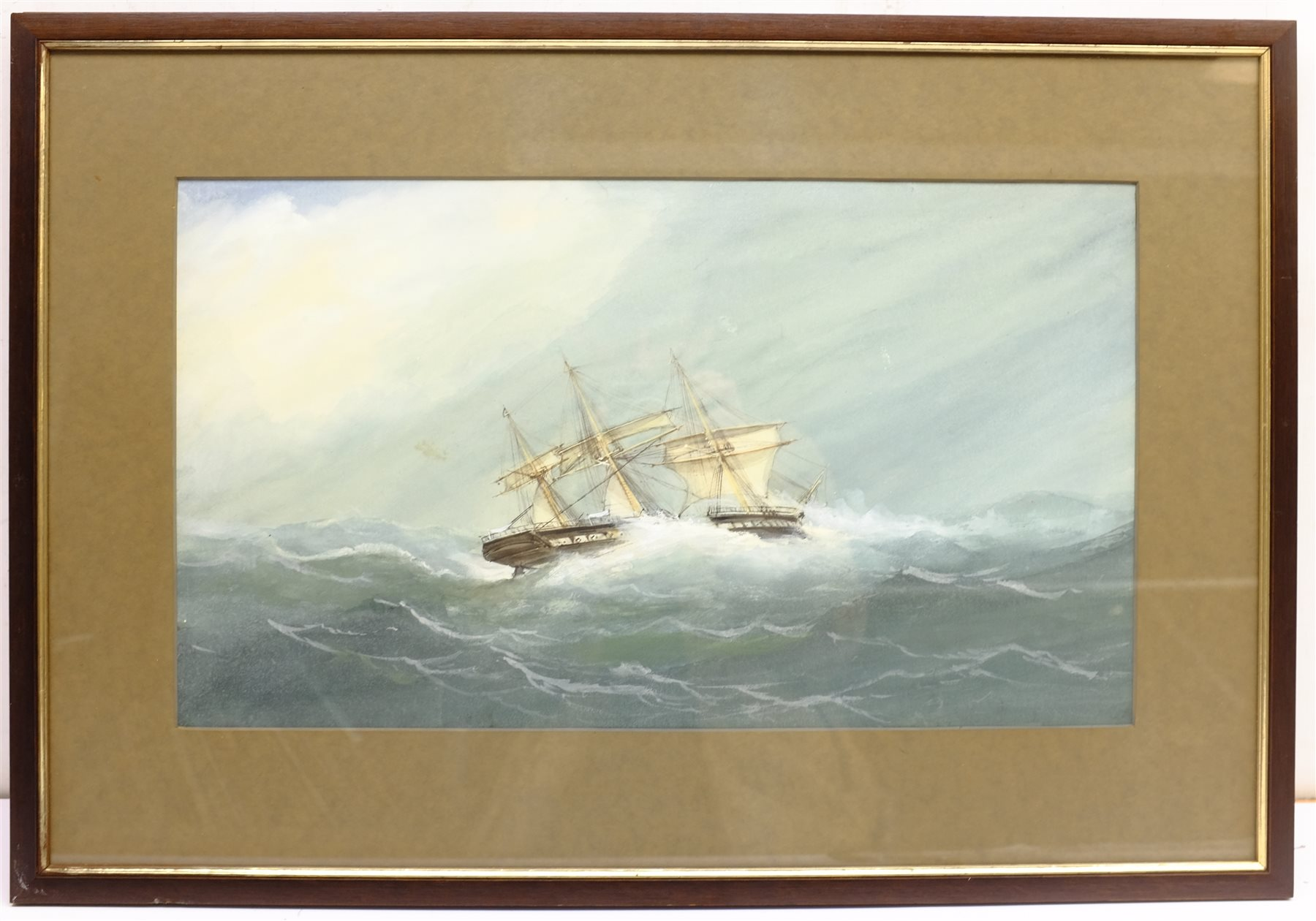 English School (Early 20th century): Ships in Rough Seas, pair watercolours unsigned 31cm x 53cm (2) - Image 6 of 10