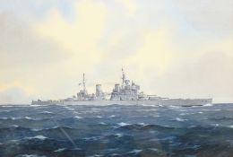 Frank Joseph Henry Gardiner (British 1942): 'H.M.S. King George V' - Ship's Portrait, watercolour si