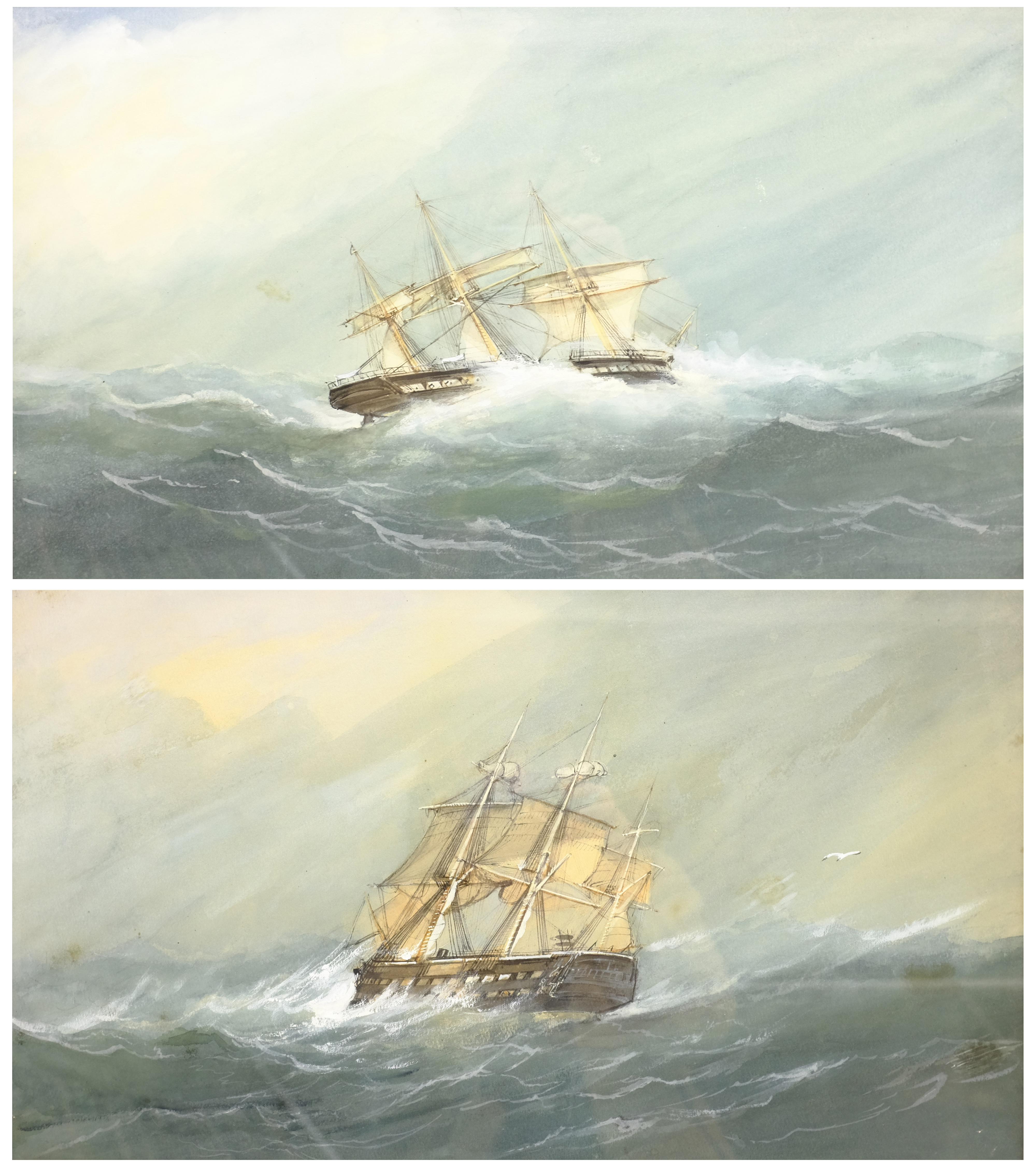 English School (Early 20th century): Ships in Rough Seas, pair watercolours unsigned 31cm x 53cm (2)