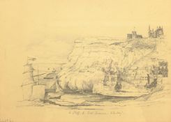 Mary Weatherill (British 1834-1913): 'East Cliff from East Terrace Whitby', pencil titled and dated