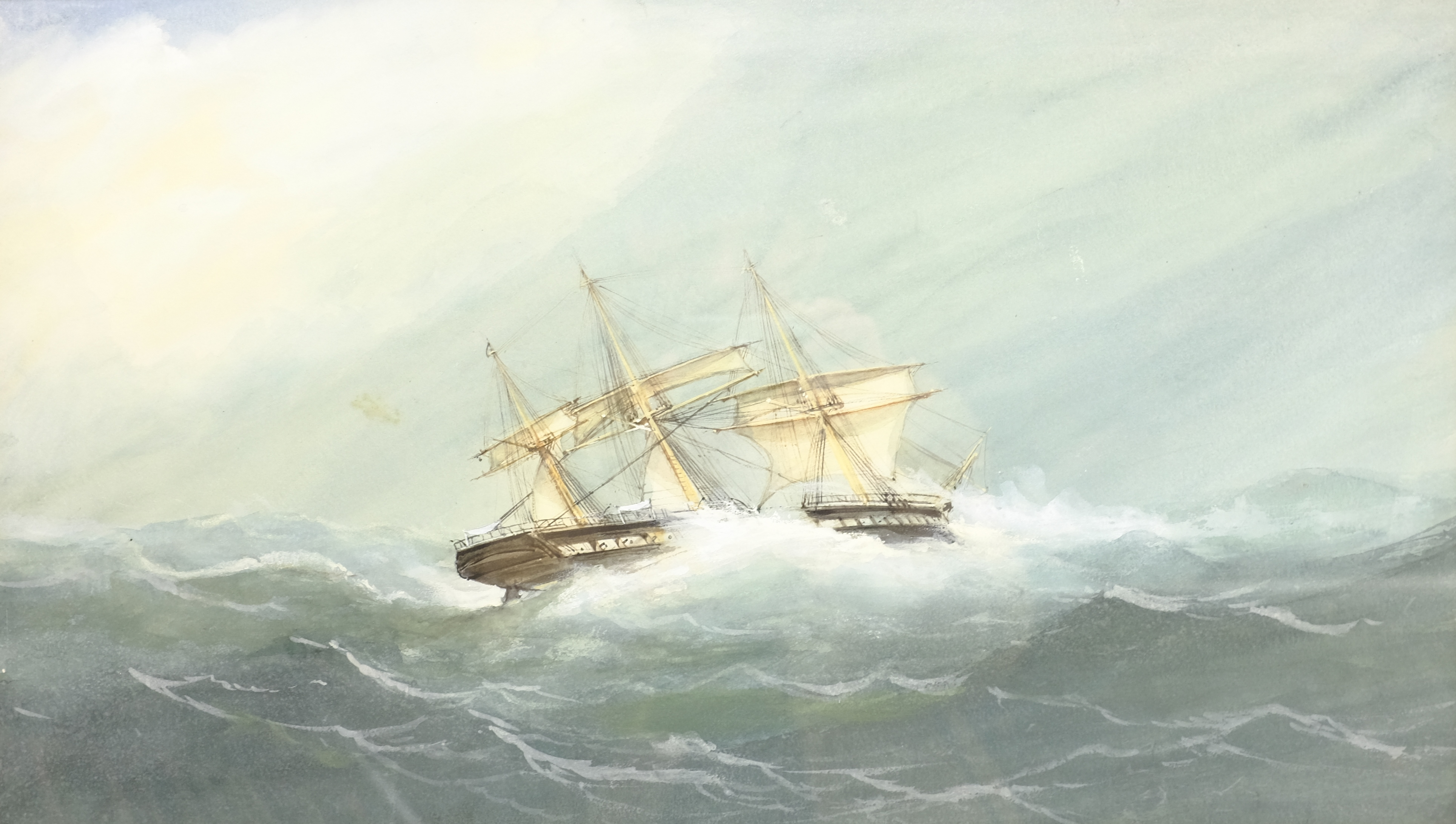 English School (Early 20th century): Ships in Rough Seas, pair watercolours unsigned 31cm x 53cm (2) - Image 9 of 10