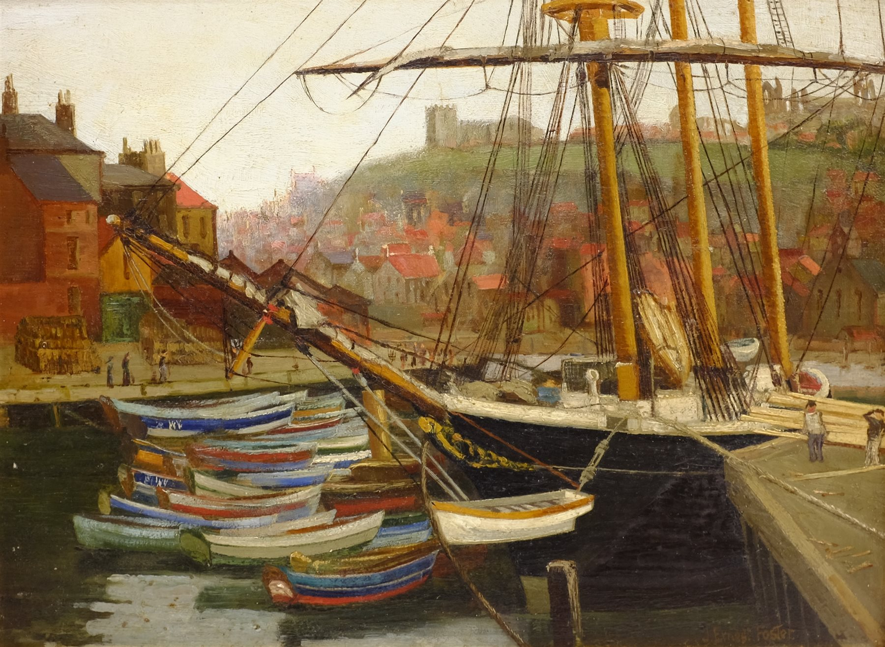 John Ernest Foster (British 1877-1968): Cobles Moored at Whitby, oil on panel signed 29cm x 40cm - Image 2 of 4