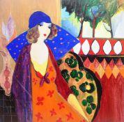 After Itzchak Tarkay (Israeli 1935-2012): 'Indigo Chapeau', colour print 63cm x 64cm