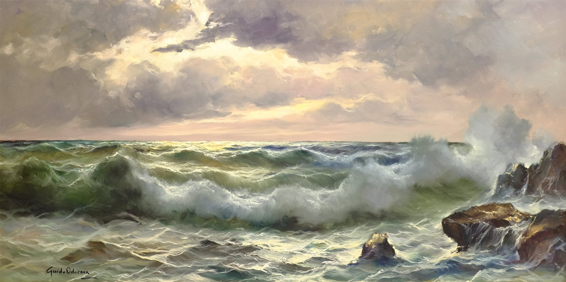 Guido Odierna (Italian 1913-1991): Waves Breaking on the Shore at Twilight, oil on canvas signed 59c - Image 2 of 4