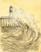 John Freeman (British 1942-): Waves Breaking onto Whitby Pier, ink and monochrome wash signed and da