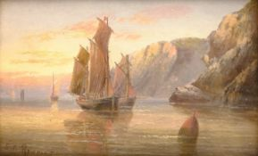 Edward King Redmore (British 1860-1941): Calm Waters at Sunset, oil on board signed 12cm x 19cm