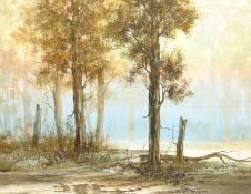 Continental School (20th century): 'Evening in the Forest', watercolour unsigned 42cm x 54cm