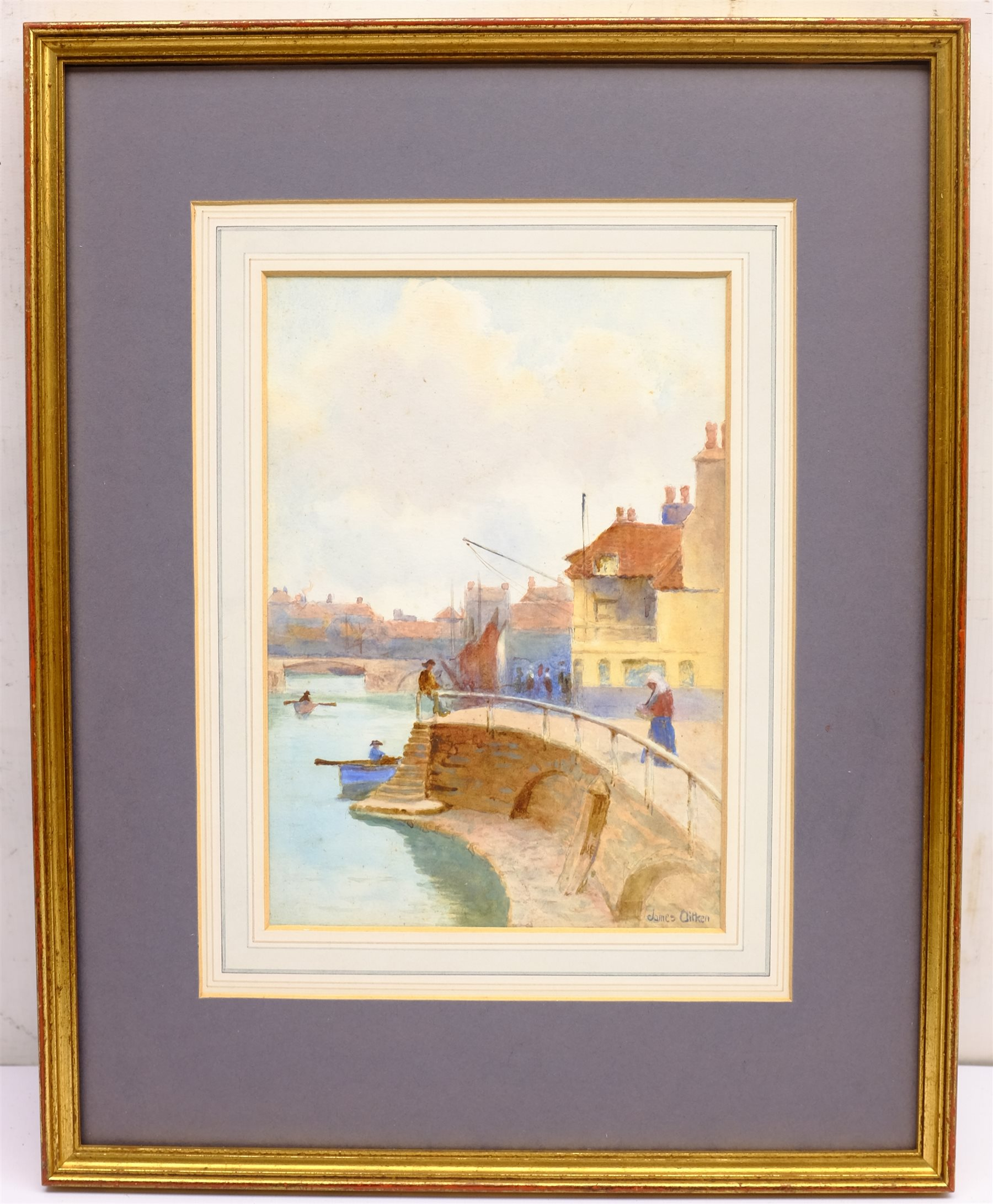 James Alfred Aitken (British 1846-1897): 'Whitby Harbour', watercolour signed, titled and dated 1876 - Image 3 of 4