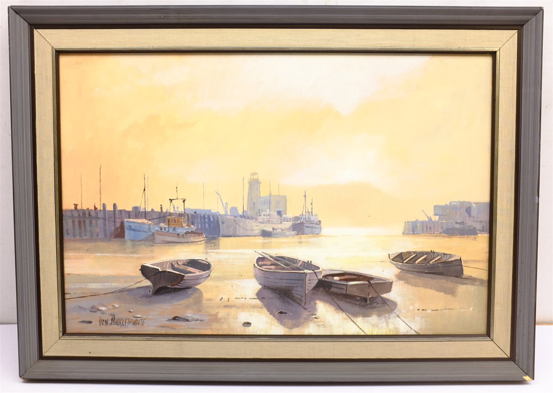 Don Micklethwaite (British 1936-): 'Summer Sun Scarborough', acrylic on board signed, titled and dat - Image 3 of 6