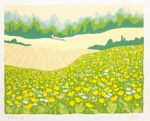 Dorothy Bart (British 20th/21st century): 'Buttercups', limited edition screen print signed titled a