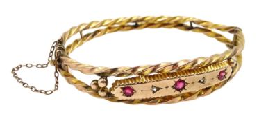 Edwardian 9ct rose gold pink stone and diamond chip hinged bangle