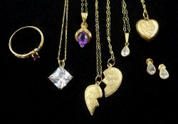 Gold necklaces and stone set necklaces