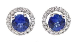 Pair of 18ct white gold sapphire and diamond circular stud earrings