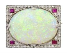 Art Deco platinum opal